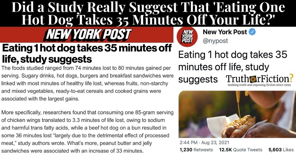'Eating One Hot Dog Takes 35 Minutes Off Your Life'
