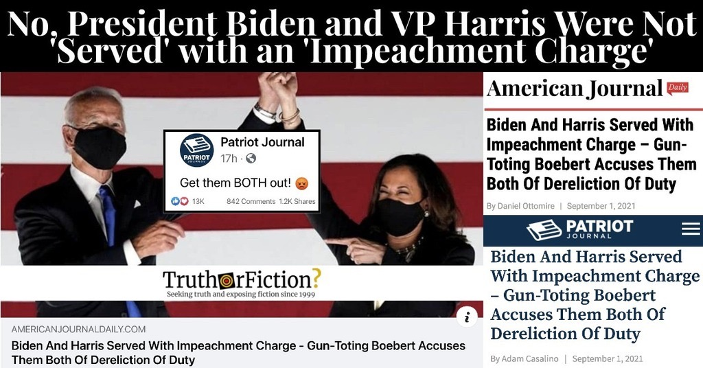'Biden And Harris Served With Impeachment Charge'