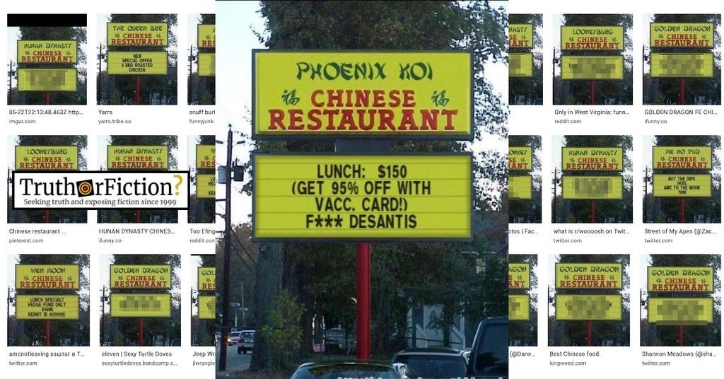 Phoenix Koi Chinese Restaurant Vaccine Discount Sign