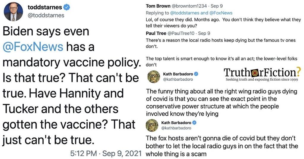 Todd Starnes: 'Biden Says Even Fox News Has A Mandatory Vaccine Policy'