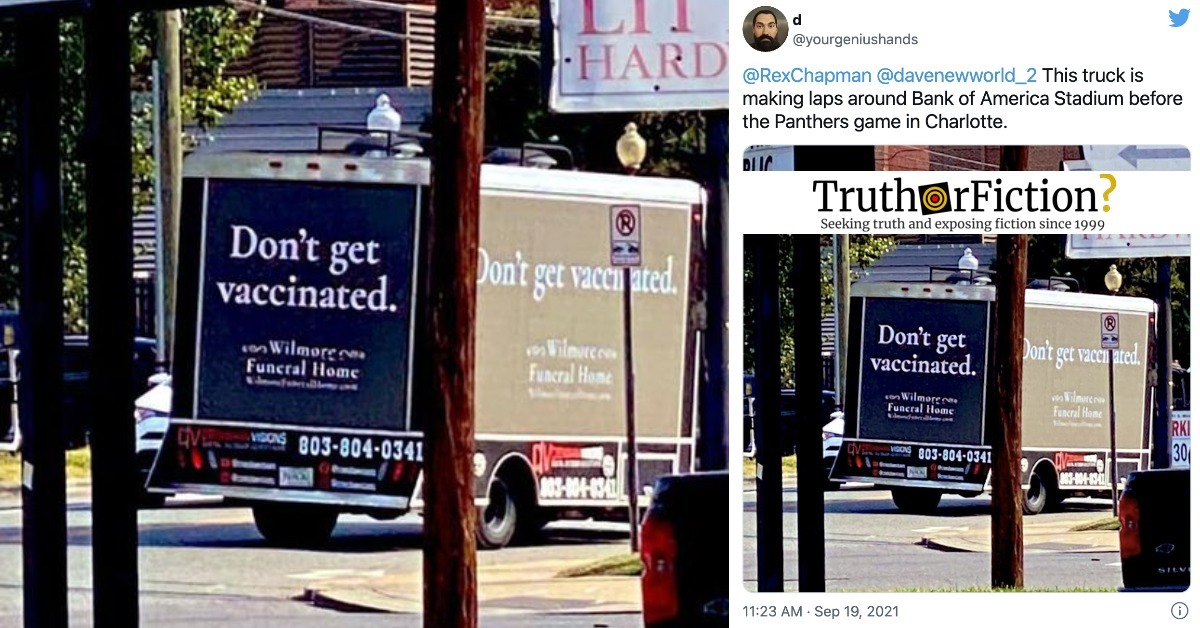 'Don't Get Vaccinated' Funeral Home Truck