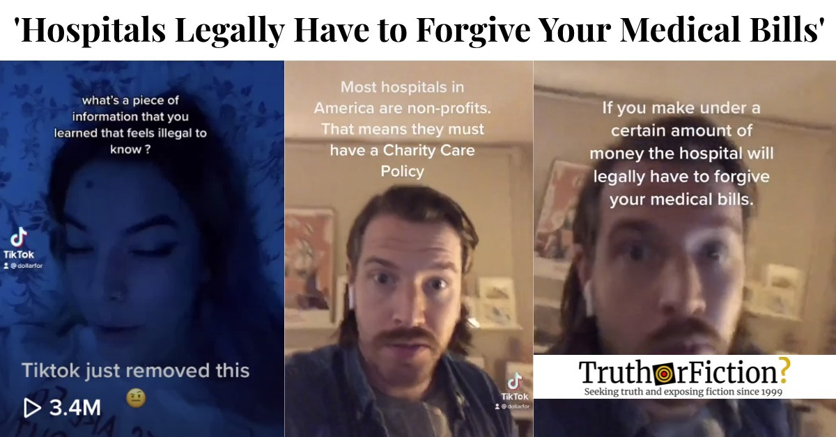 Most Hospitals 'Legally Have to Forgive Your Medical Bills' if You Make Under 300 Percent of the Federal Poverty Line