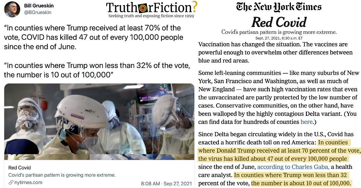'Covid Killed 47 Out Of Every 100,000 People' in 'Counties Where Trump Got over 70 Percent of the Vote'