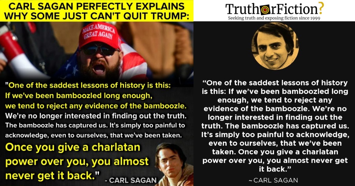 Carl Sagan: 'Once You Give a Charlatan Power Over You, You Almost Never Get It Back'