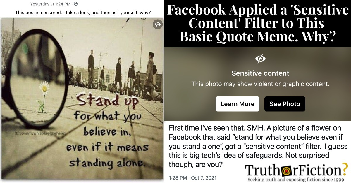Stand Up for What You Believe In, Even If Facebook Marks it 'Sensitive Content'