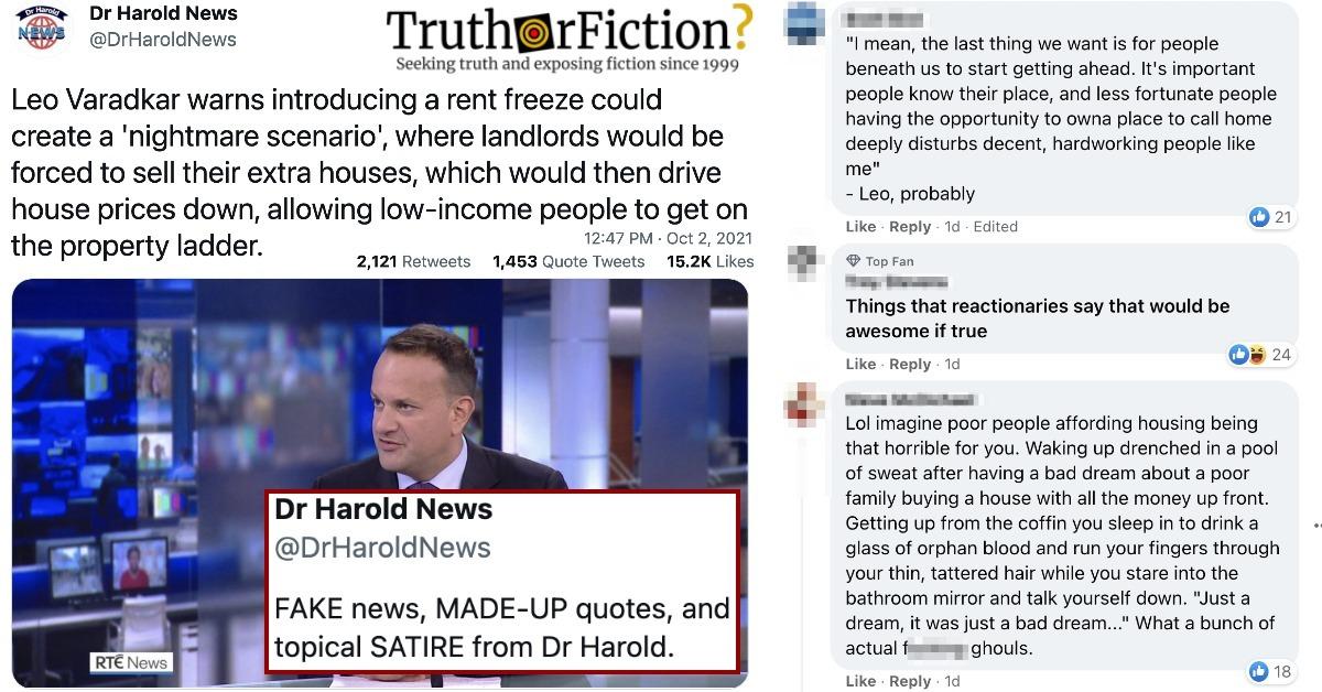 Leo Varadkar 'Rent Freeze' Quote