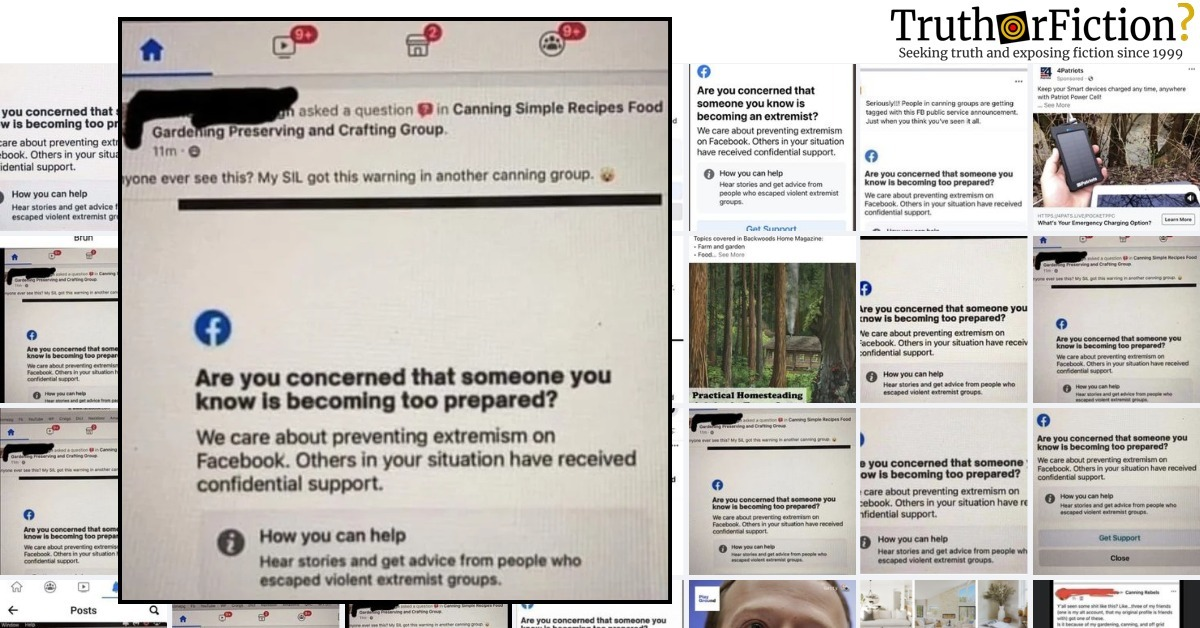 'Are You Concerned Someone You Know is Becoming Too Prepared?' Facebook