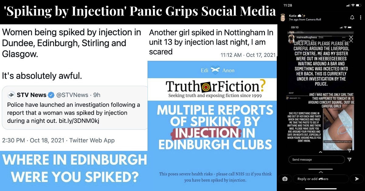 'Spiked by Injection' Warnings on Social Media