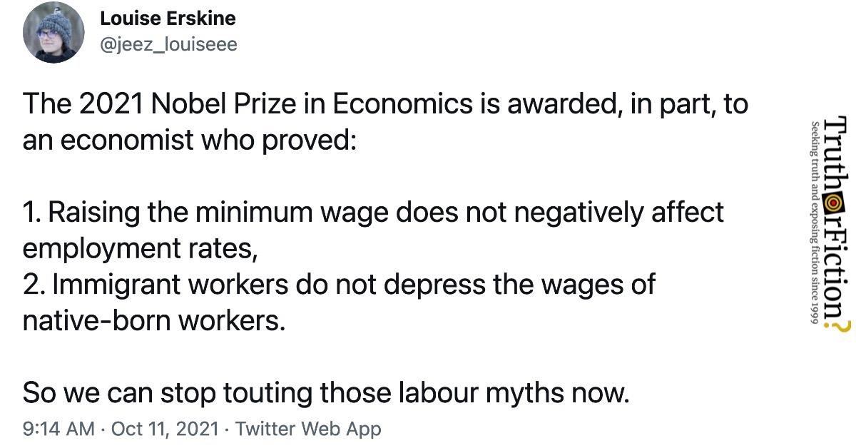 2021 Nobel Prize in Economics: Minimum Wage and Immigrant Labor