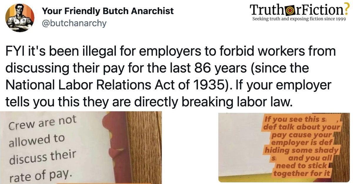 'It's Been Illegal for Employers to Forbid Workers From Discussing Their Pay For the Last 86 Years, Since the National Labor Relations Act of 1935'