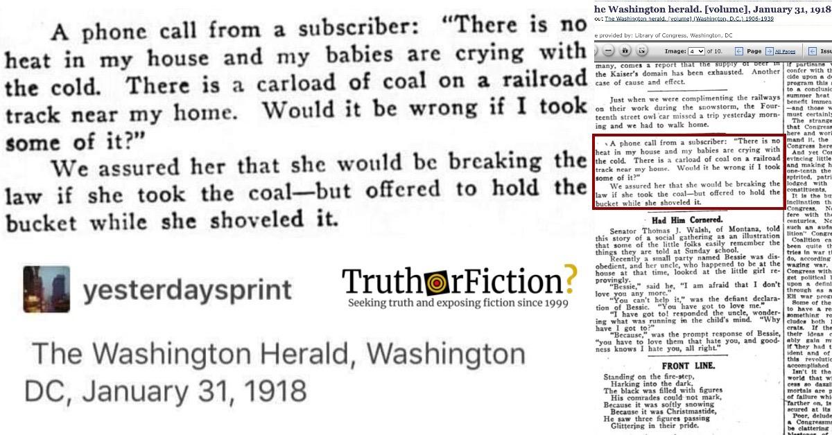 Washington Herald 1918 Coal Question