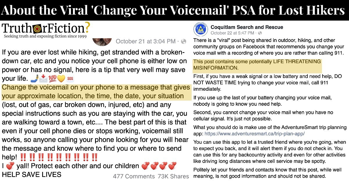 'PSA, If You're Ever Lost While Hiking … Change Your Voicemail'
